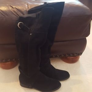 Black Suede Leather Riding